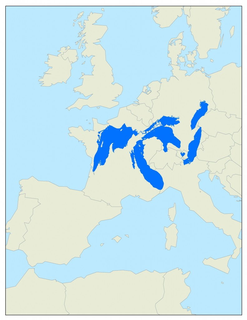 map of the great lakes compared to europe