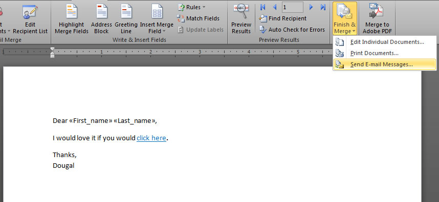 how to send a mail merge email in outlook 2010